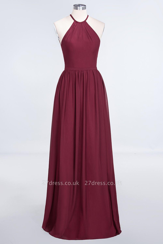Sexy A-line Flowy Halter Sleeveless Floor-Length Bridesmaid Dress UK UK with Ruffles