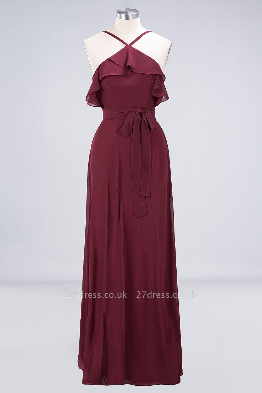 Sexy A-line Flowy Spaghetti-Straps Sleeveless Ruffles Floor-Length Bridesmaid Dress UK UK with Bow Sash