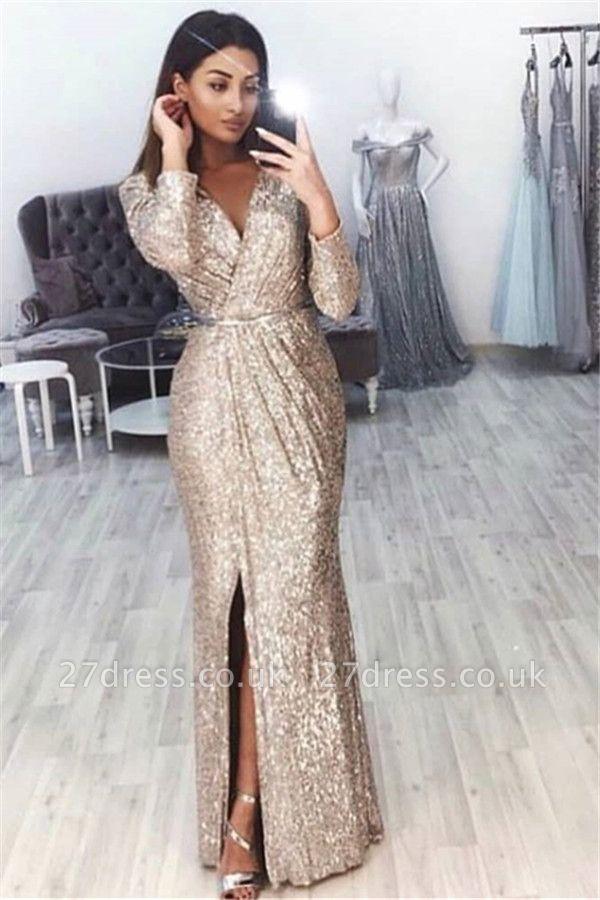 Elegant Mermaid Alluring V-neck Long-Sleeves Front-Slipt Long Prom Dress UK