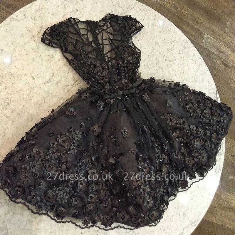 Modern Cap Sleeves Beading V-Neck A-Line Flower Prom Dress UK UK