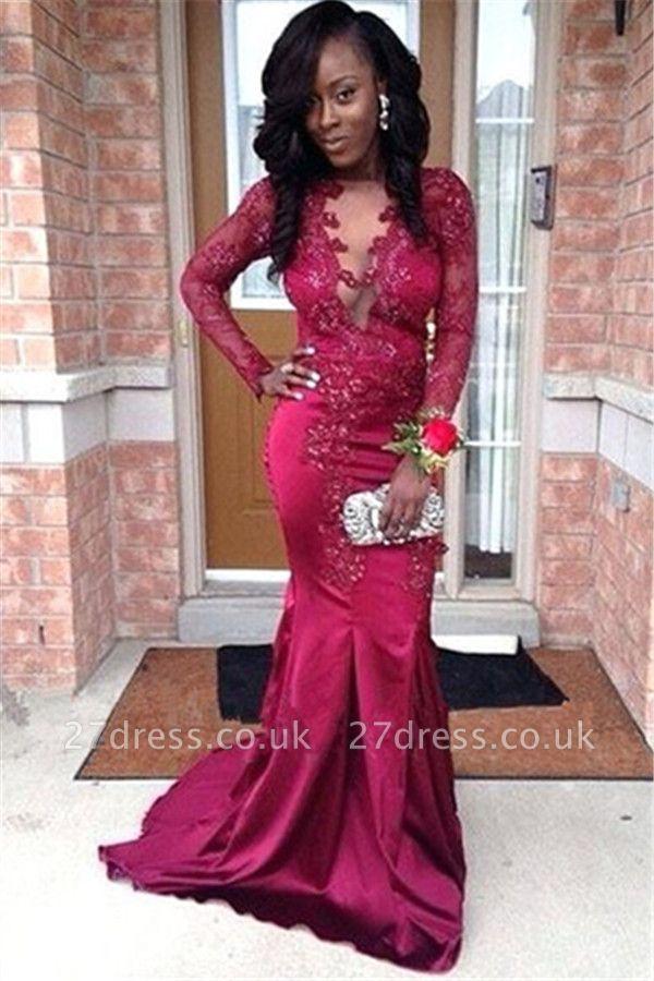 Stunning V-Neck Appliques Long Sleeves Elegant Mermaid Prom Dress UK UK
