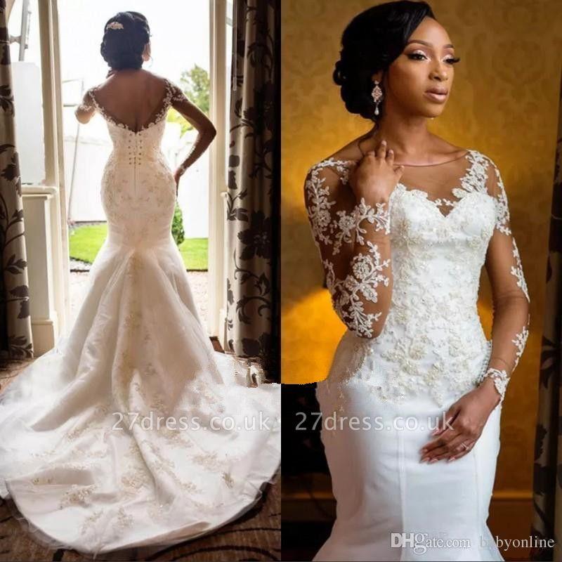 Fashion Long Sleeves Appliques Sexy Mermaid Round Neck Wedding Dress