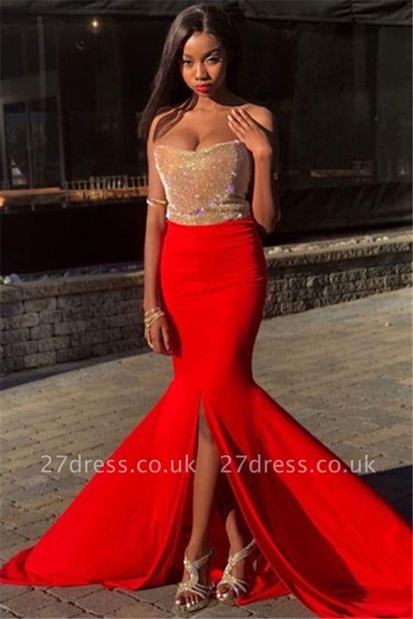 Sexy Elegant Mermaid Strapless Sleeveless Front-Slipt Prom Dress UK