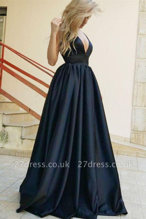 Sexy Straps Sleeveless Deep V-Neck A-Line Prom Dress UK UK