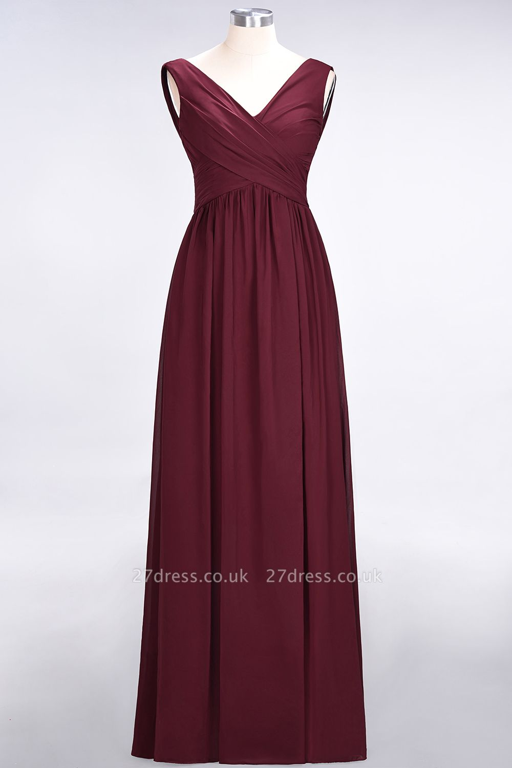 Sexy A-line Flowy Straps Alluring V-neck Sleeveless Floor-Length Bridesmaid Dress UK UK with Ruffles