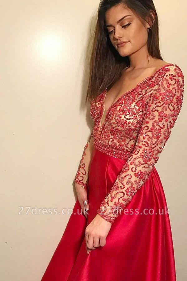 Elegant Hot Deep V-Neck Long Sleeves Beading A-Line Prom Dress UK UK