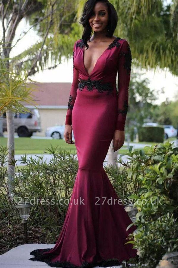 Elegant Hot Elegant Mermaid Deep-V-Neck Long-Sleeves Sweep Train Prom Dress UK UK