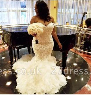 Unique Sweetheart Organza Appliques Sleeveless Sexy Mermaid Wedding Dress