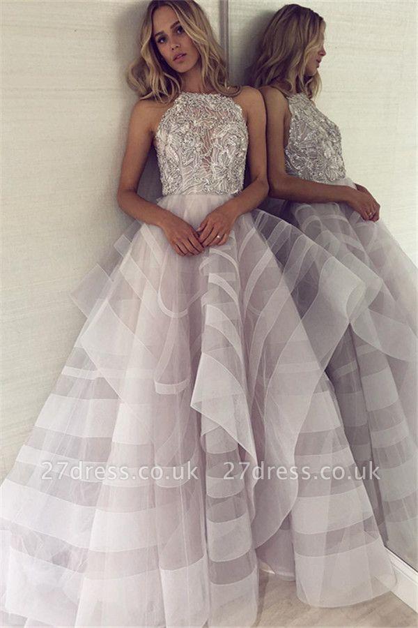 Sexy A-line Appliques Halter Sleeveless Long Length Prom Dress UK