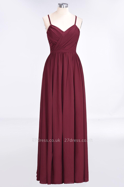 Sexy A-line Flowy Spaghetti-Straps Alluring V-neck Sleeveless Floor-Length Bridesmaid Dress UK UK with Ruffles