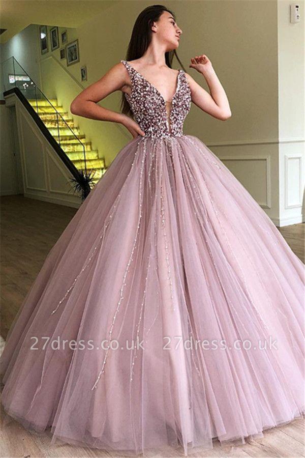 Tulle Beading Deep-Alluring V-neck Straps Sleeveless Prom Dress UK