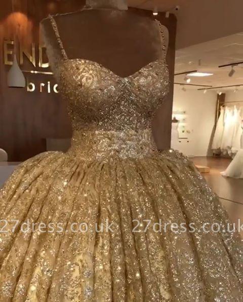 Luxurious Spaghetti Straps SleevelssBall Gown Crystals Prom Dress UKes UK UK