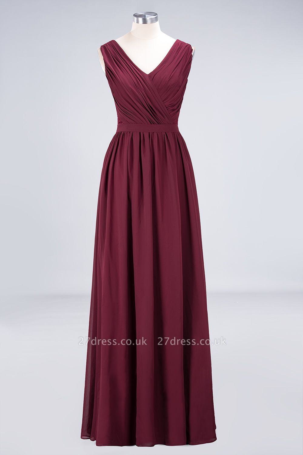 Sexy A-line Flowy Lace Alluring V-neck Sleeveless Floor-Length Bridesmaid Dress UK UK with Ruffles