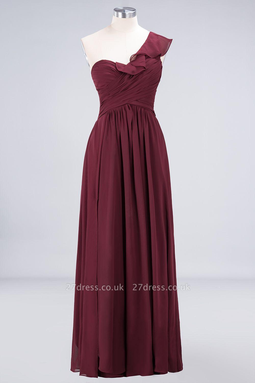 Sexy A-line Flowy One-Shoulder Sweetheart Sleeveless Floor-Length Bridesmaid Dress UK UK with Ruffles