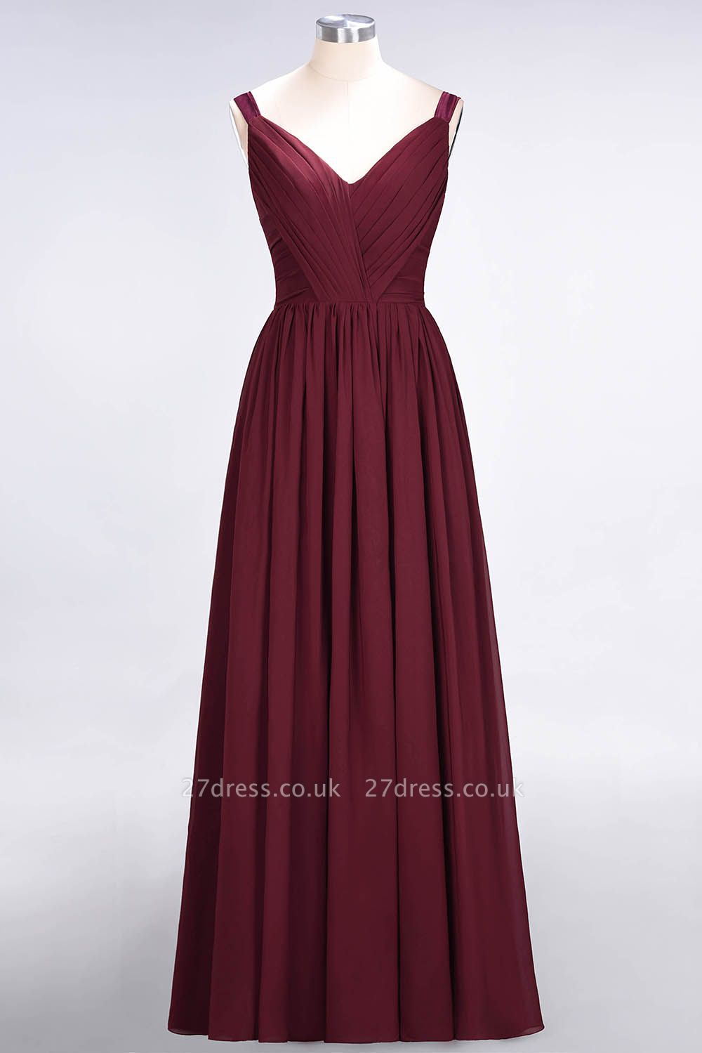 Sexy A-line Flowy Straps Alluring V-neck Sleeveless Backless Floor-Length Bridesmaid Dress UK UK with Ruffles