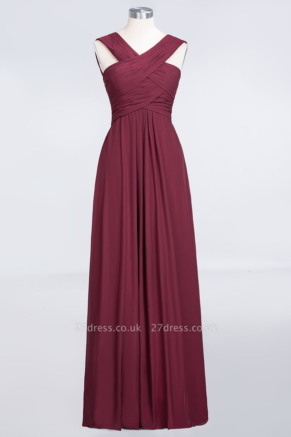 Sexy A-line Flowy Alluring V-neck Straps Sleeveless Floor-Length Bridesmaid Dress UK UK with Ruffles