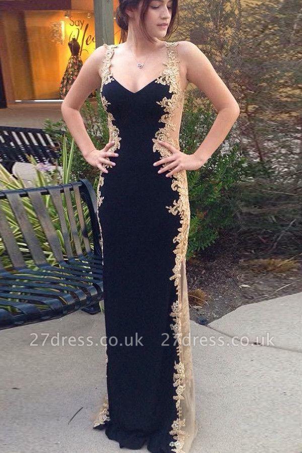 Sexy Black Straps Sleeveless Appliques Column Prom Dress UK UK