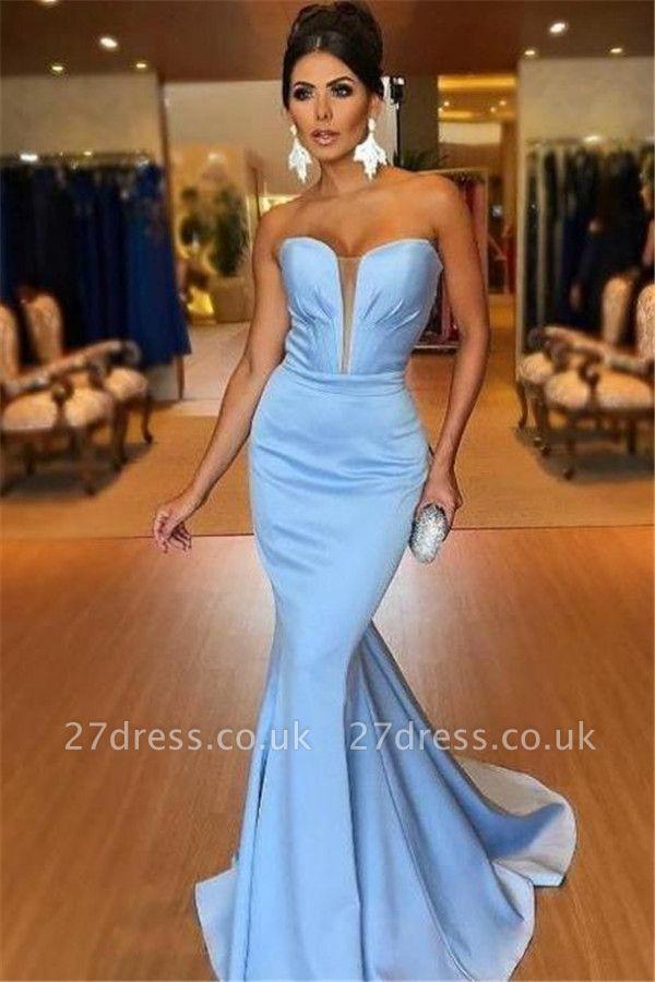 Elegant Mermaid Alluring V-neck Sleeveless Strapless Long Prom Dress UK