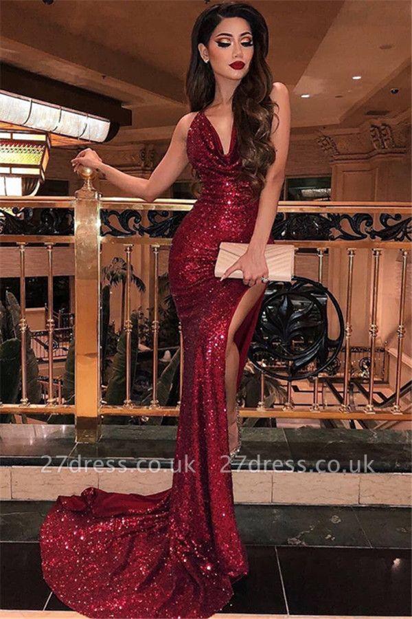 Elegant Mermaid Halter Sleeveless Front-Slipt Long Prom Dress UK