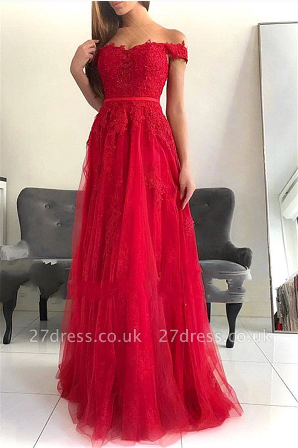 Stunning Off-the-Shoulder Appliques Tulle A-Line Long Prom Dress UKes UK UK