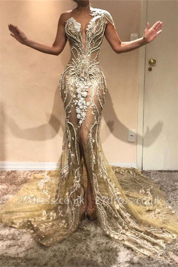 Gorgeous A-Line One Shoulder Beading Appliques Front Slit Prom Dress UKes UK UK