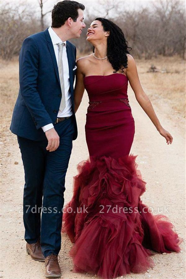 Chic Sleeveless Strapless Tulle Elegant Mermaid Long Prom Dress UKes UK UK