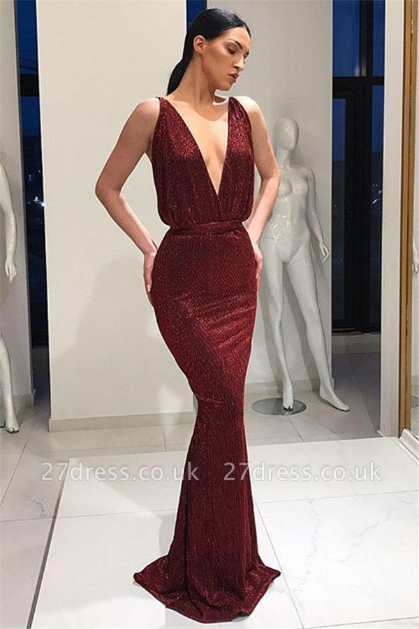 Stunning Deep V-Neck Sleeveless Lace-up Elegant Mermaid Long Prom Dress UKes UK UK