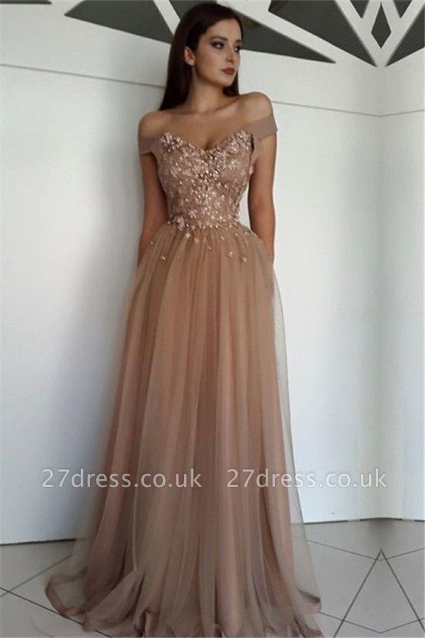 Stunning Off-the-Shoulder Beading Appliques Tulle A-Line Long Prom Dress UKes UK UK