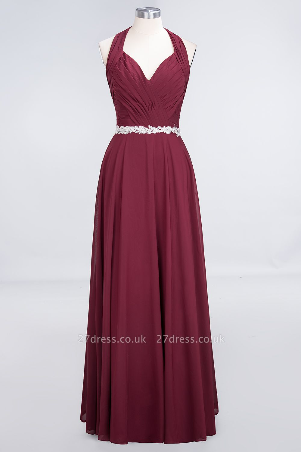 A-Line Chiffon Halter V-Neck Sleeveless Ruffle Long Bridesmaid Dress UK with Appliques Sashes
