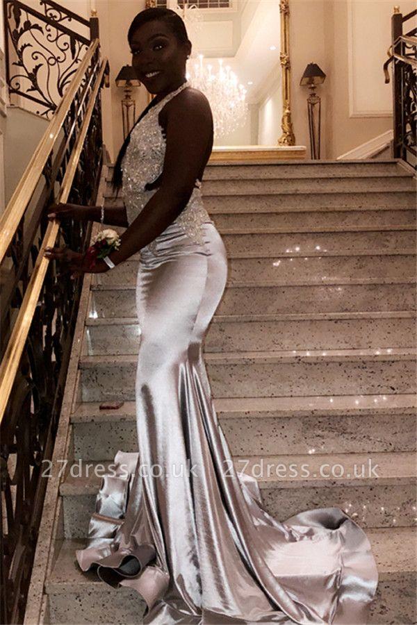 Chic Halter V-Neck Sleeveless Crystals Sequined Elegant Mermaid Prom Dress UKes UK UK