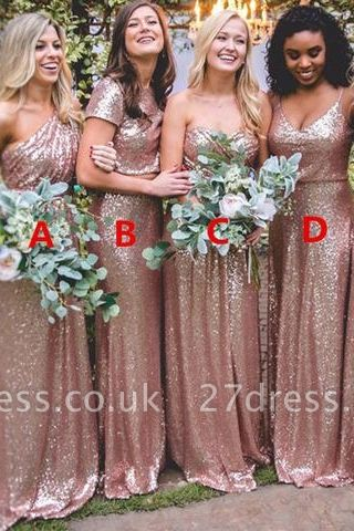 Elegant Sequin Bridesmaid Dress UKes UK | Rose Gold Long Wedding Guest Dress UKes UK