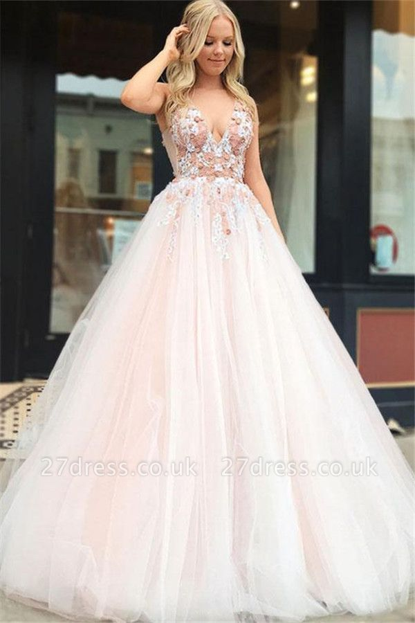 Gorgeous A-Line Straps V-Neck Sleeveless Beading Appliques Long Prom Dress UKes UK UK