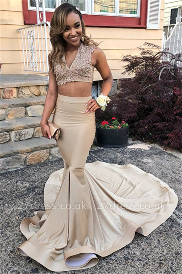 Crop Top V-Neck Straps Sleeveless Appliques Elegant Mermaid Long Prom Dress UKes UK UK