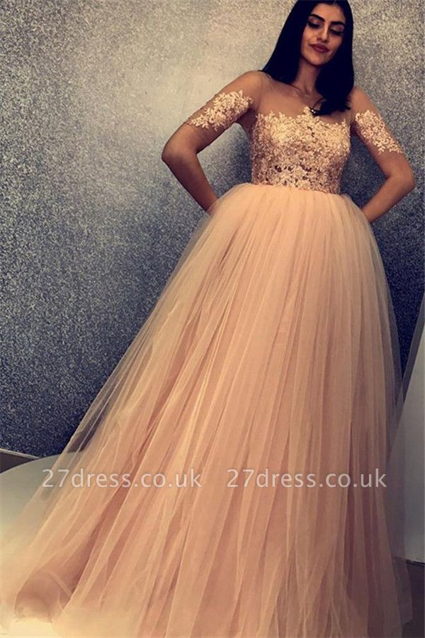 Chic Scoop Short Sleeves Appliques Tulle A-Line Long Prom Dress UKes UK UK