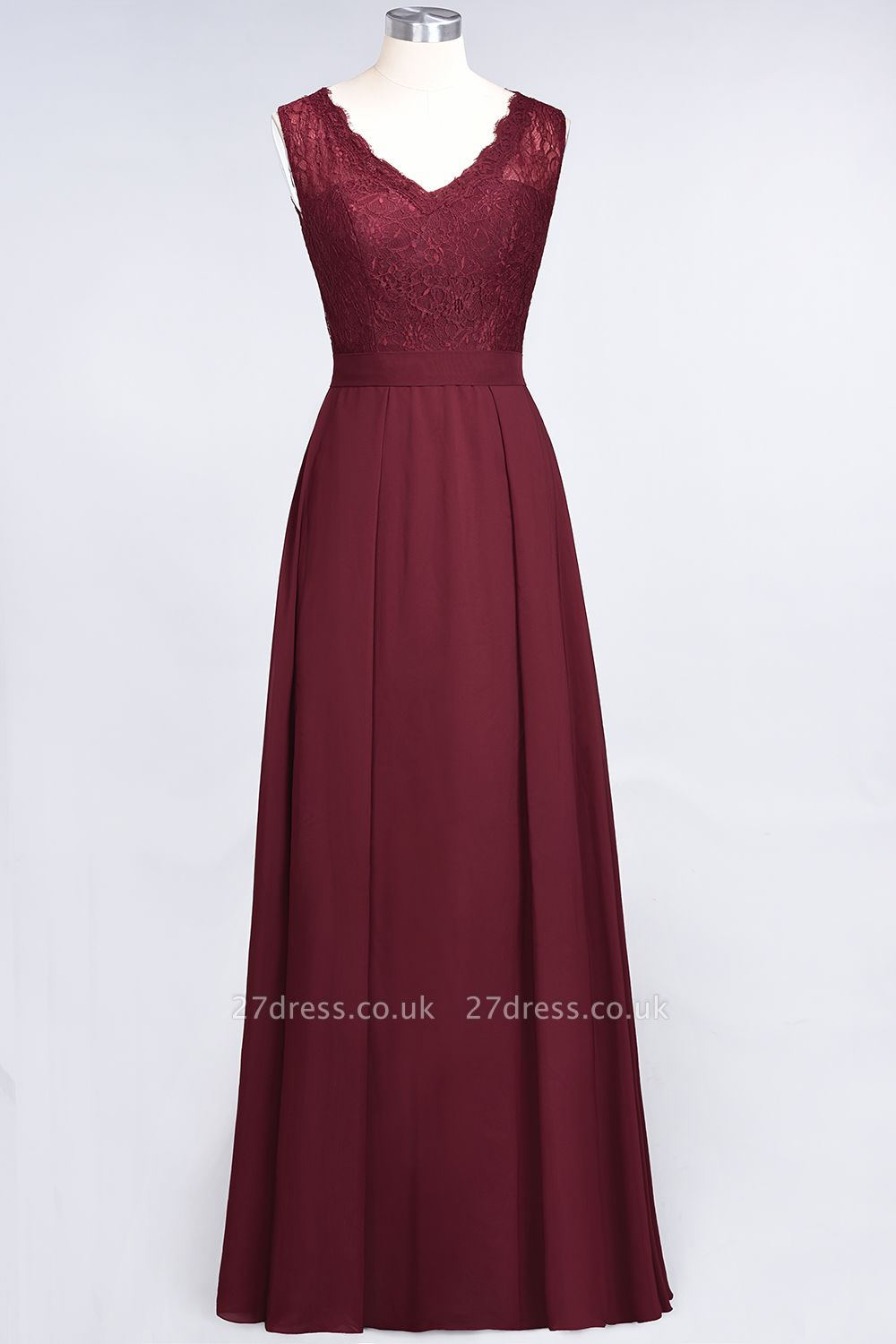 A-Line Chiffon Lace V-Neck Sleeveless Long Bridesmaid Dress UK