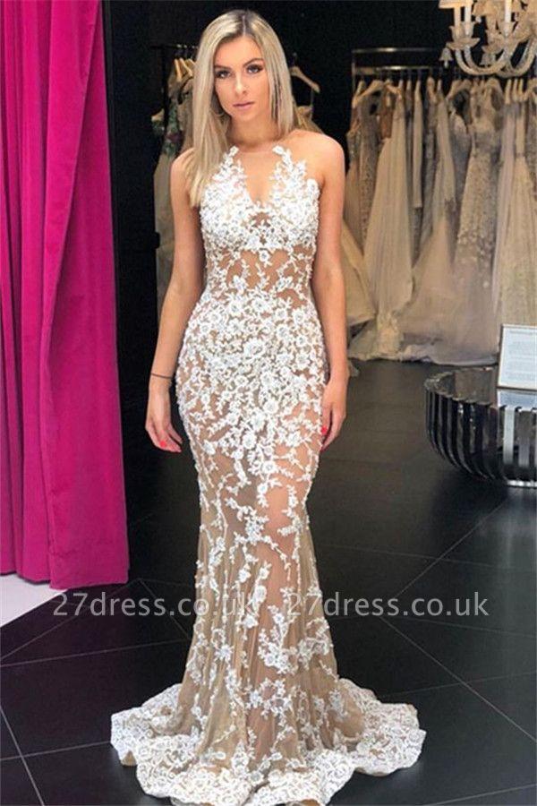 Speical V-Neck Sleeveless Appliques Elegant Mermaid Sweep Train Prom Dress UKes UK UK