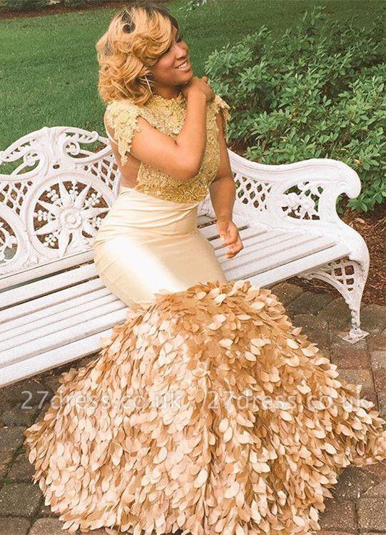 Stylish Round Neck Appliques Short Sleeves Elegant Mermaid Floor-Length Prom Dress UKes UK UK