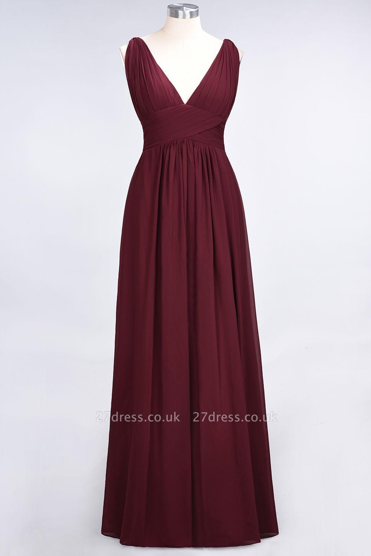 A-Line Chiffon V-Neck Sleeveless Long Bridesmaid Dress UK with Ruffle