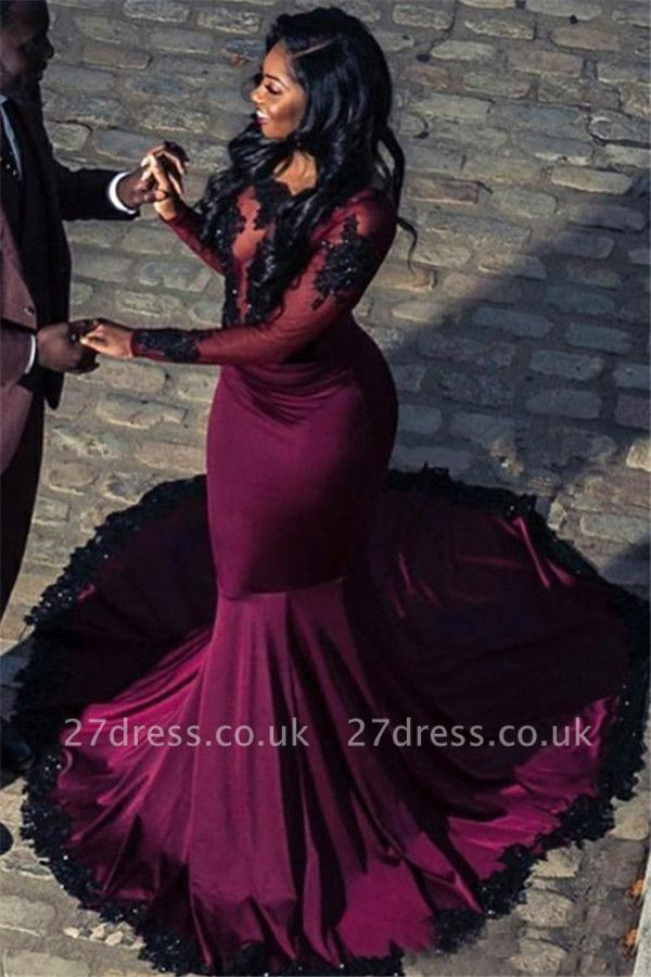 Gorgeous Scoop with Sleeves Appliques Tulle Elegant Mermaid Long Prom Dress UKes UK UK