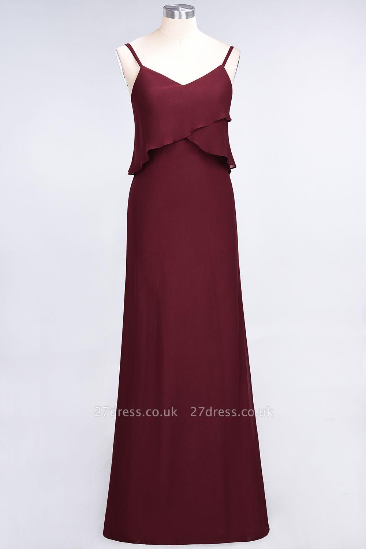 A-Line Chiffon Spaghetti-Straps V-Neck Sleeveless Long Bridesmaid Dress UK