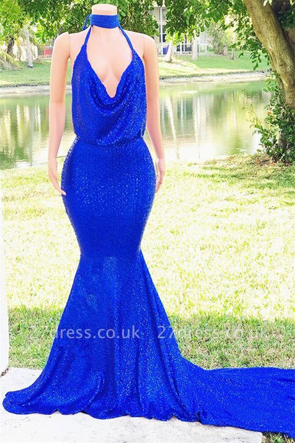 Special Design Halter Sleeveless Elegant Mermaid Floor length Alluring V-neck Prom Dress UKes UK UK