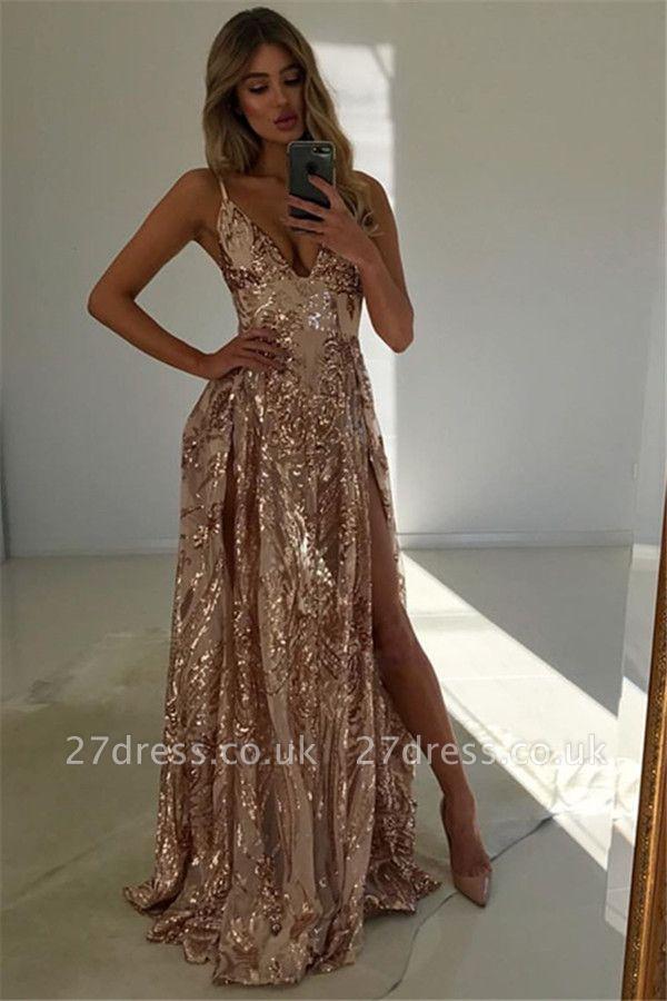 Stunning V-Neck Spaghetti Straps Front Slit A-Line Sleeveless Long Prom Dress UKes UK UK