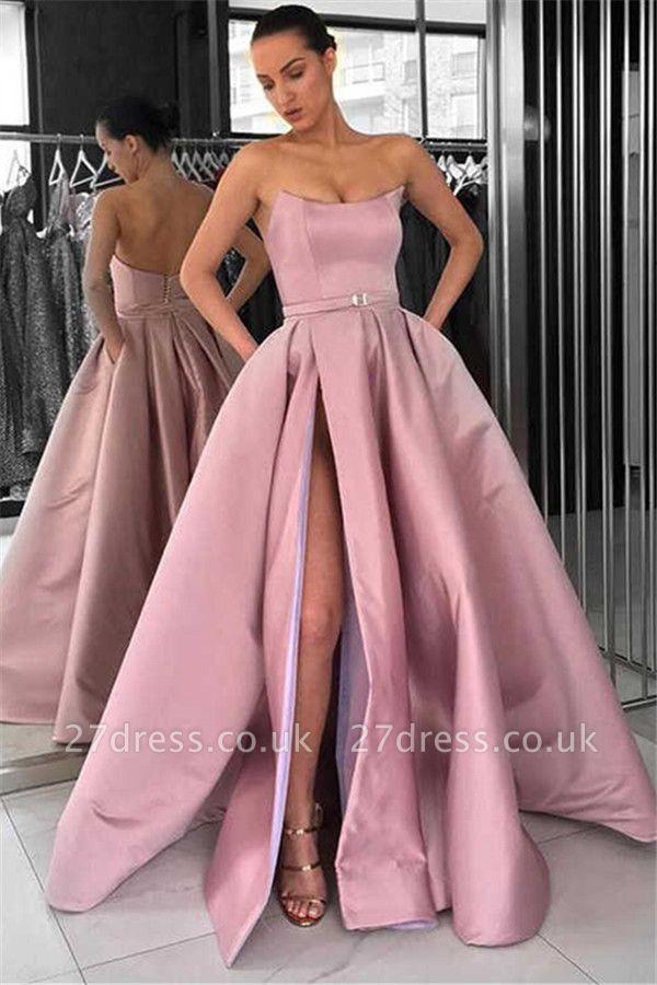 Chic Sleeveless Strapless Front Slit A-Line Zipper Long Prom Dress UKes UK UK