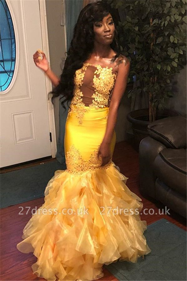 Chic Sleeveless Strapless Appliques Tulle Elegant Mermaid Long Prom Dress UKes UK UK