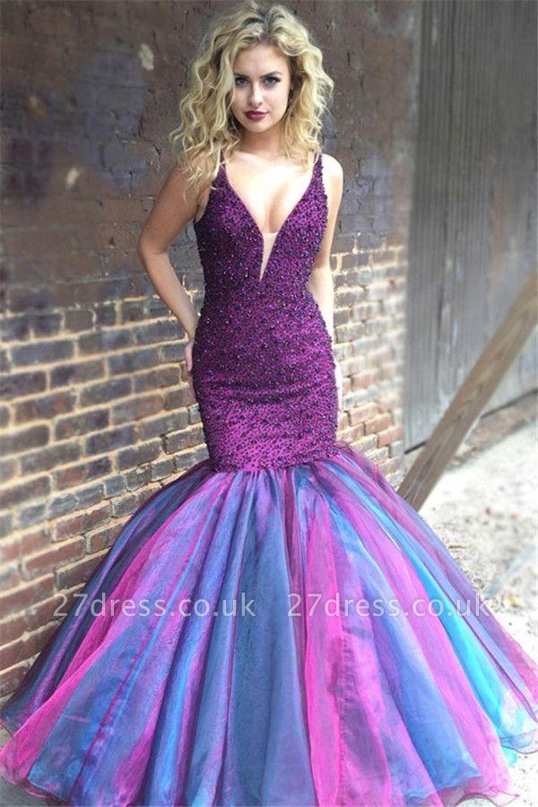 Timeless V-Neck Sleeveless Spaghetti Straps Crystals Elegant Mermaid Long Prom Dress UKes UK UK