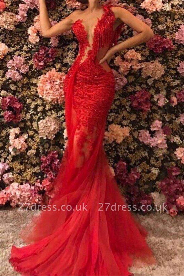 Chic One Shoulder Appliques Tulle Beading Elegant Mermaid Long Prom Dress UKes UK UK