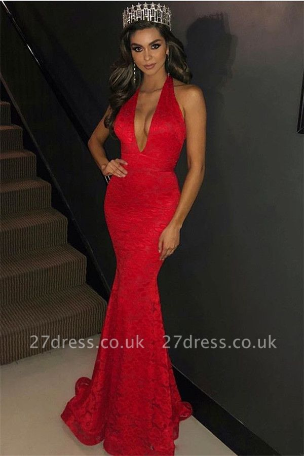 Amazing Halter Sleeveless Elegant Mermaid Deep Alluring V-neck Appliques Prom Dress UKes UK UK