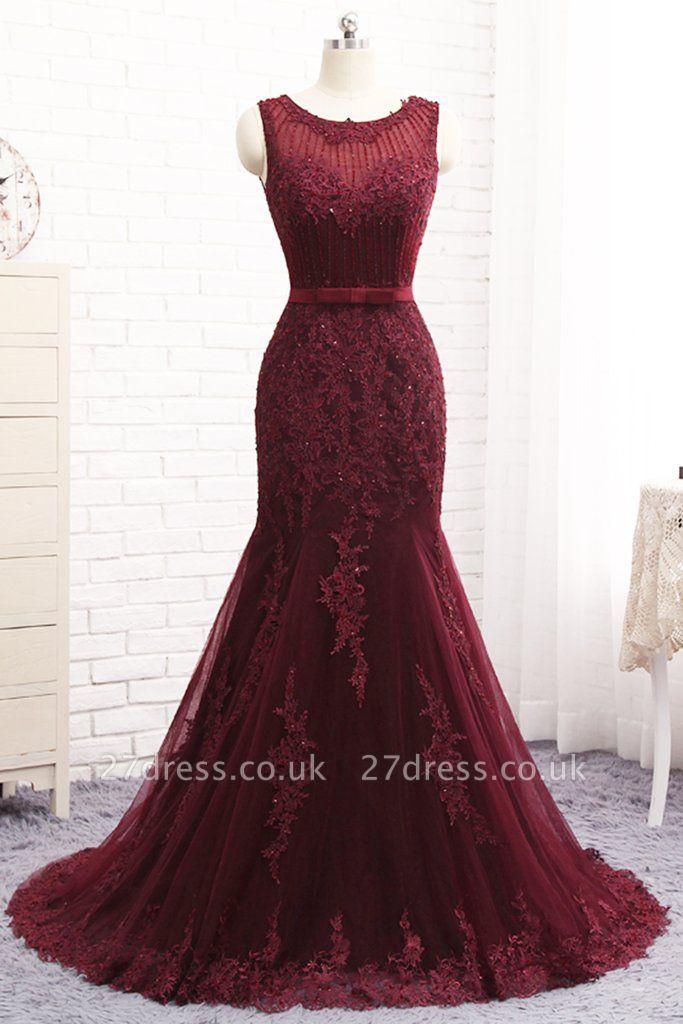 Sexy Scoop Sleeveless Tulle Elegant Mermaid Appliques Sequins Zipper Prom Dress UKes UK UK