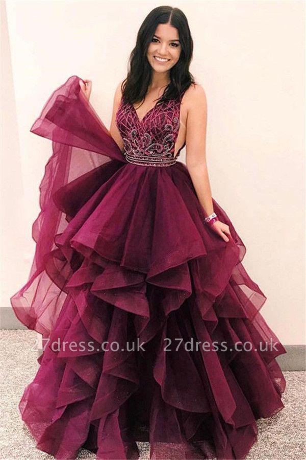 Gorgeous V-Neck Sleeveless Appliques Tulle A-Line Long Prom Dress UKes UK UK