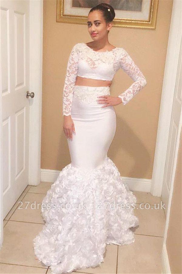 Two Pieces Scoop Long Sleeves Appliques Elegant Mermaid Lace Prom Dress UKes UK UK